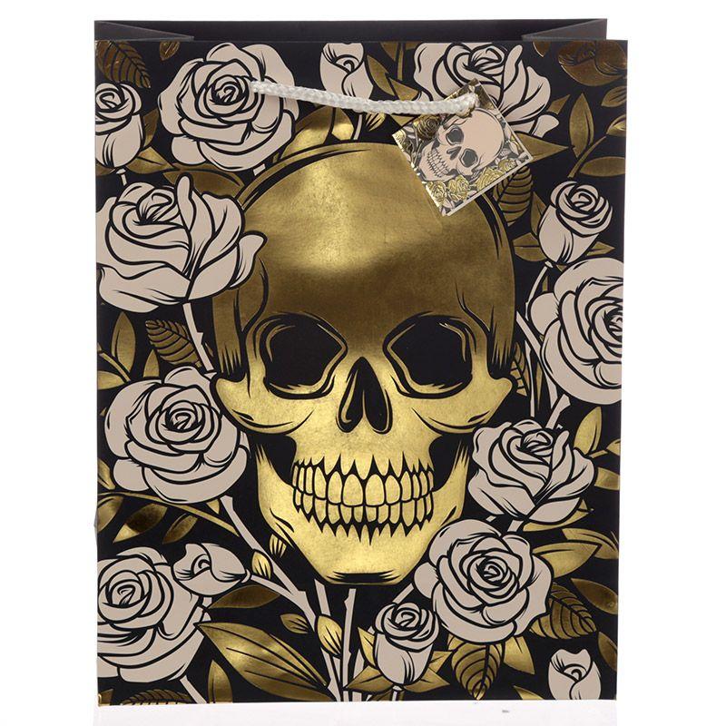 Sac Cadeau Métallique Crânes & Roses - Large lulu shop 2