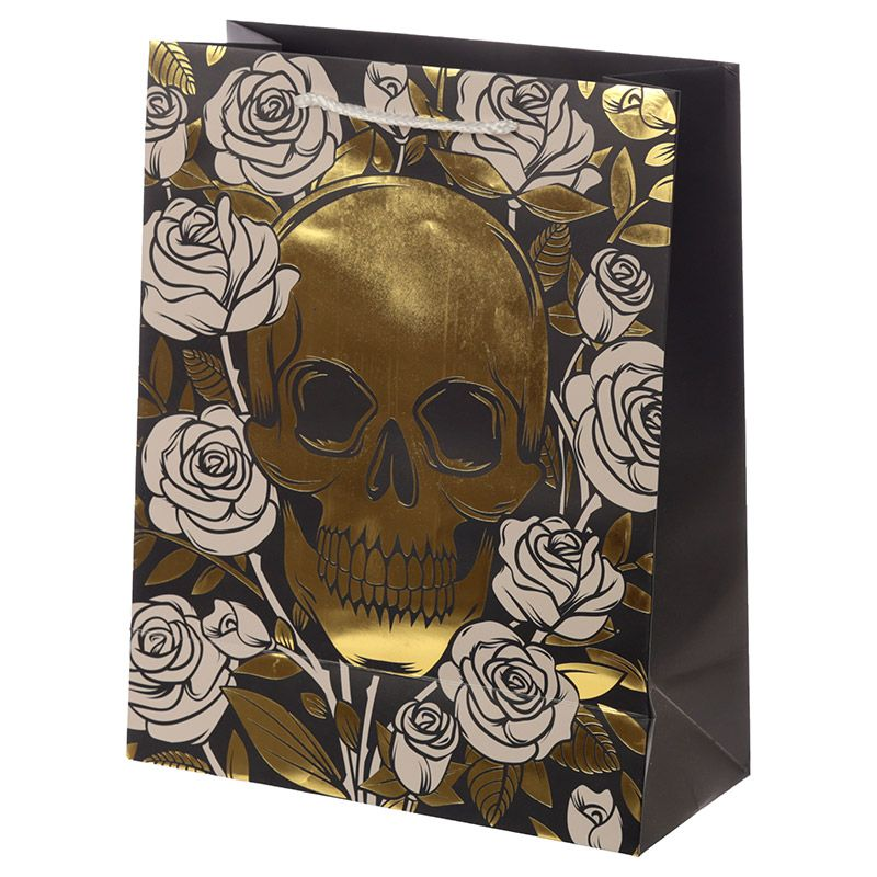 Sac Cadeau Métallique Crânes & Roses - Large lulu shop 3