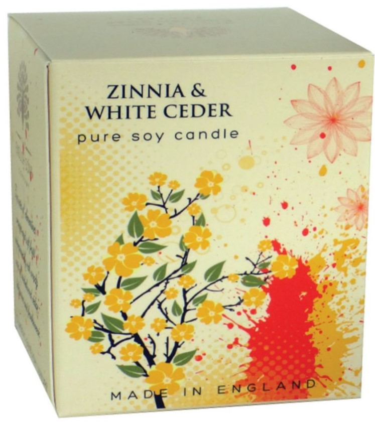 Bougie 35 heures Fleurs de Zinnia et Cèdre Blanc lulu  shop