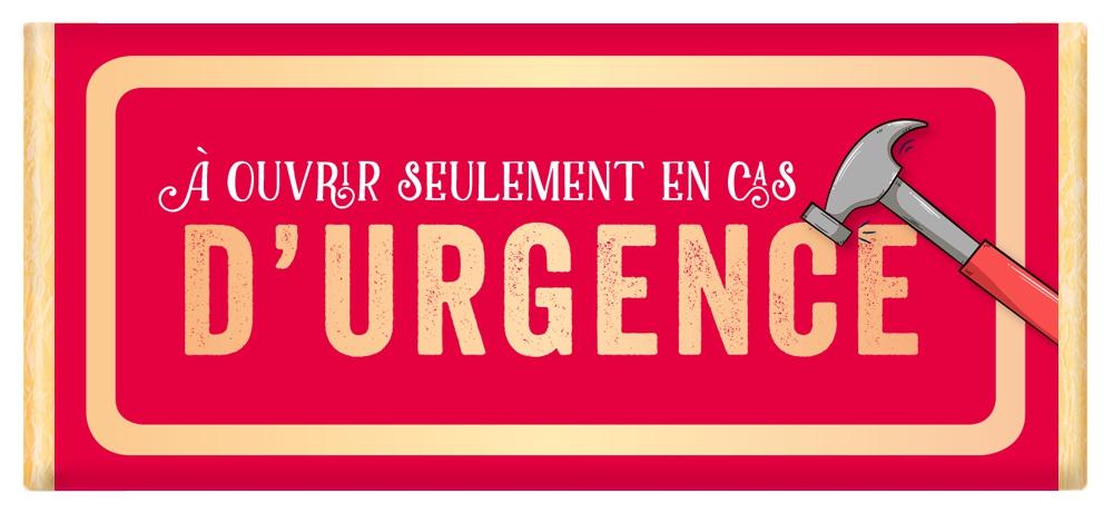 Tablette de chocolat Message À ouvrir seulement en cas d'urgence lulu shop