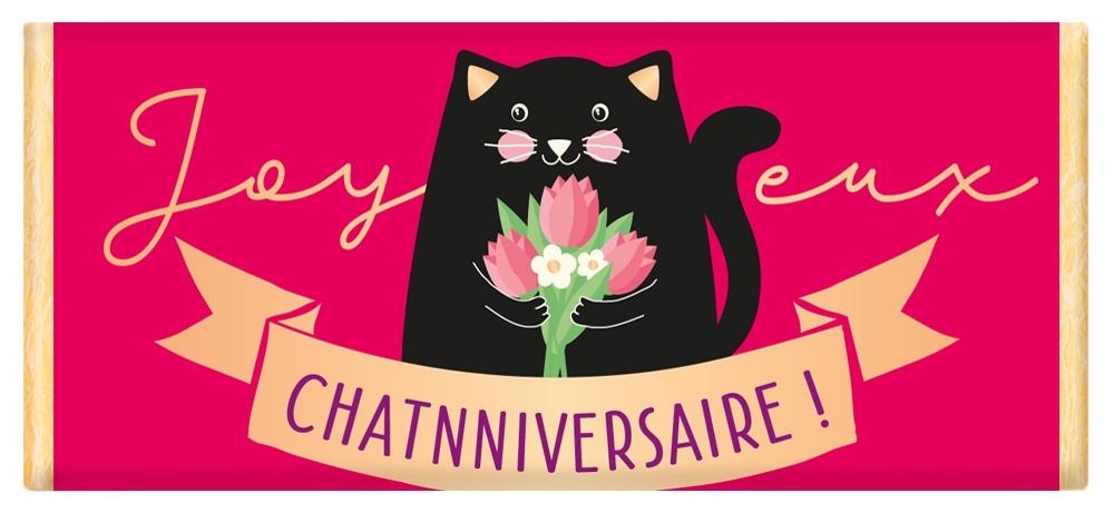 Tablette de chocolat Message Joyeux Chatnniversaire! lulu shop