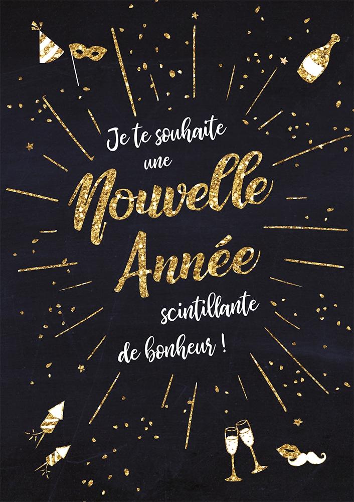 Lulu-Shop.fr Cartes postales Je te souhaite une Nouvelle Année scintillante de bonheur! 3326221