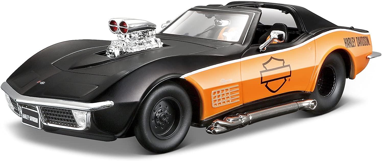 Chevrolet Corvette mat-noir orange Harley-Davidson 1970 Maisto 1-24 lulu shop 1