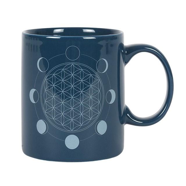 Lulu Shop Mug Fleur de vie avec les phases de la lune 1