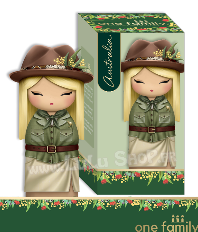 Lulu Shop poupée japonaise Kokeshi Figurine Ambassadrice One Family™ Australie Amelia 1