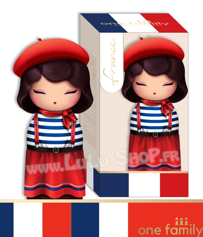 Lulu Shop poupée japonaise Kokeshi Figurine Ambassadrice One Family™ France Fleur 1