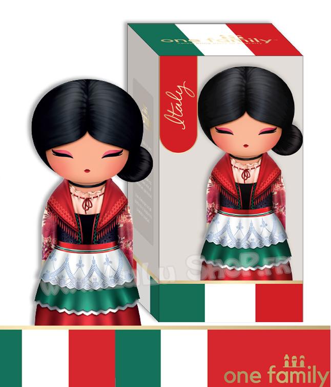 Lulu Shop poupée japonaise Kokeshi Figurine Ambassadrice One Family™ Italie Sofia 1