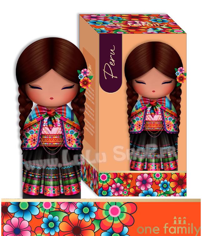 Lulu Shop poupée japonaise Kokeshi Figurine Ambassadrice One Family™ Pérou Allégra 1