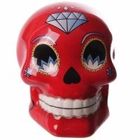 Tirelire crâne jour des morts mexicain petit modèle rouge