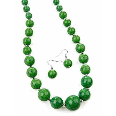 Collier + boucles d'oreilles assorties avec perles craquelées vert