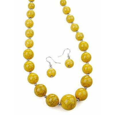 Collier + boucles d'oreilles assorties avec perles craquelées jaune