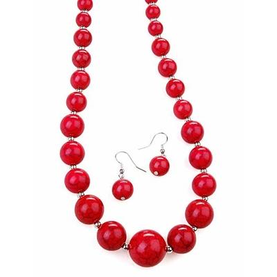 Collier + boucles d'oreilles assorties avec perles craquelées rose