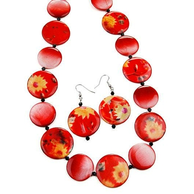 Collier perles plates oranges + boucles d'oreilles assorties