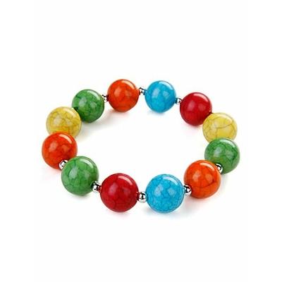 Bracelet strech avec perles craquelées multicolor