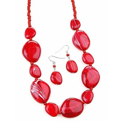 Collier avec perles rouge marbrées + boucles d'oreilles assorties