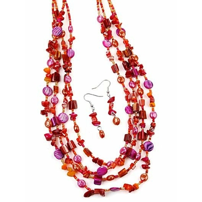 Collier multirang rose fushia + boucles d'oreilles assorties