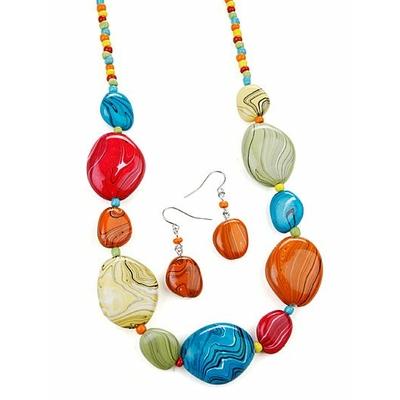 Collier avec perles multicolor marbrées + boucles d'oreilles assorties