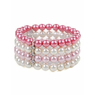 Bracelet noir strech avec perles au ton pastel rose