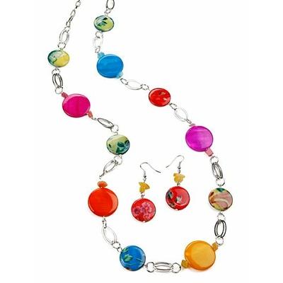 Collier sautoir au ton fleuri multicolore + boucles d'oreilles assorties