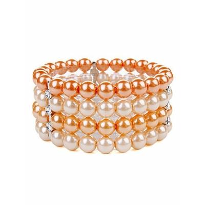 Bracelet noir strech avec perles au ton pastel orange