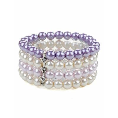 Bracelet noir strech avec perles au ton pastel mauve lilas