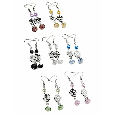 Boucles d'oreilles fantaisie pendantes avec 4 perles