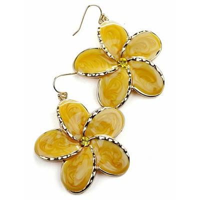Boucles d'oreilles fantaisie fleur jaune sur ton doré avec rhinestone (imitation diamant)