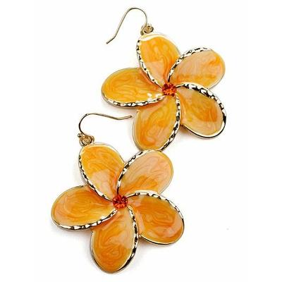Boucles d'oreilles fantaisie fleur orange sur ton doré avec rhinestone (imitation diamant)