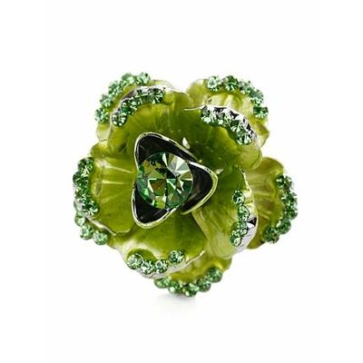 Bague vert électrique réglable en forme de fleur incrustée de rhinestone (imitation diamant)