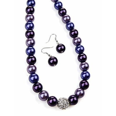 Collier de perles violet + boucle d'oreilles assorties