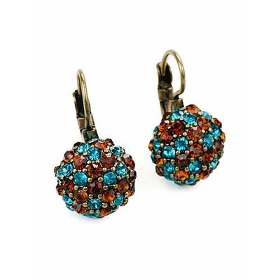 """Boucles d'oreilles fantaisie marron et bleu """" imitation cristal """""""