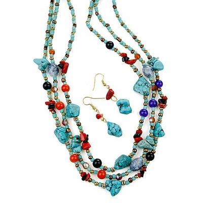 Collier 3 rangs de ton or avec perles turquoise, et multicolor avec boucles d'oreilles assorties