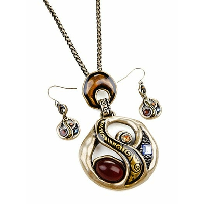 "Collier ""antique abstrait"" marron avec boucles d'oreilles assorties"