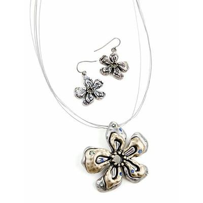 """Collier """" fleur argent et bronze """" avec boucles d'oreilles assorties"""