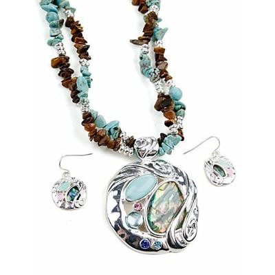 Collier 2 rangs avec perles et pendentif bleus turquoise avec boucles d'oreilles assorties