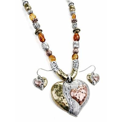 """Collier """" coeur """" argent, bronze, marron avec boucles d'oreilles assorties"""