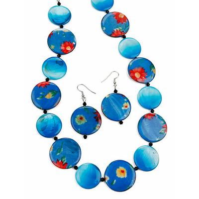 Collier perles plates turquoises + boucles d'oreilles assorties