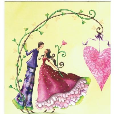 Nina Shen : Le Couple d' Amoureux sous la branche de Coeur