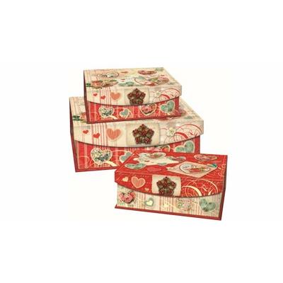 Boîte Cadeau rectangulaire avec Bijou Motif : Coeur vintage