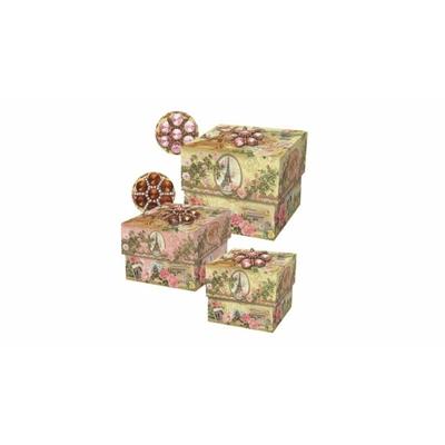 Boîte Cadeau rose Carrée avec Bijou Motif : Vintage Tour-Eiffel