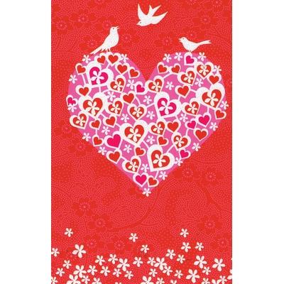 Carte Postale Double : Coeur avec Oiseaux Blanc