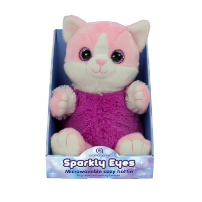 Peluche Chauffante avec Bouillotte Sparly Eyes Chat Rose
