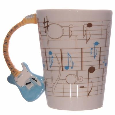 Mug Partitions avec anse Guitare bleue