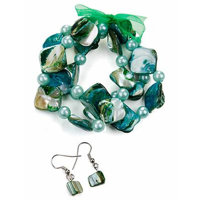 Bracelet strech vert + boucles d'oreilles assorties