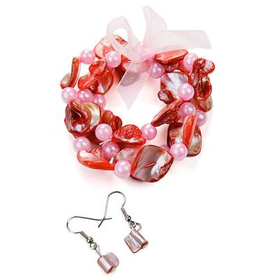 Bracelet strech rose + boucles d'oreilles assorties