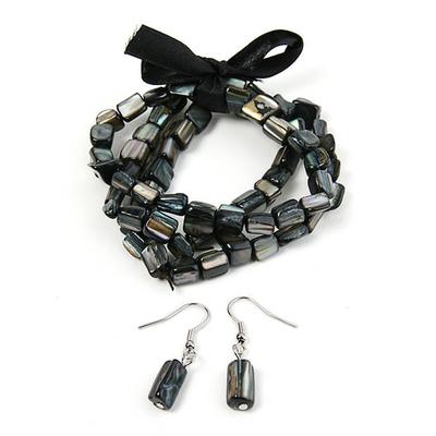 Bracelet strech  avec ruban noir + boucles d'oreilles assorties