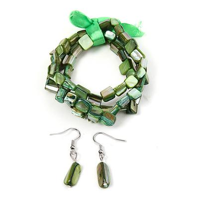 Bracelet strech  avec ruban vert + boucles d'oreilles assorties