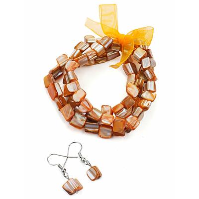 Bracelet strech  avec ruban orange + boucles d'oreilles assorties