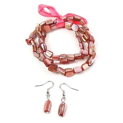 Bracelet strech  avec ruban rose + boucles d'oreilles assorties