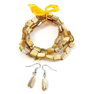 Bracelet strech  avec ruban jaune + boucles d'oreilles assorties